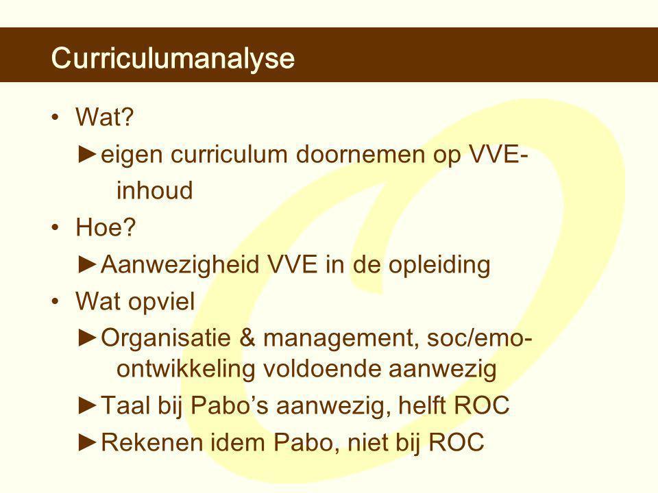 Curriculumanalyse •Wat. ► eigen curriculum doornemen op VVE- inhoud •Hoe.