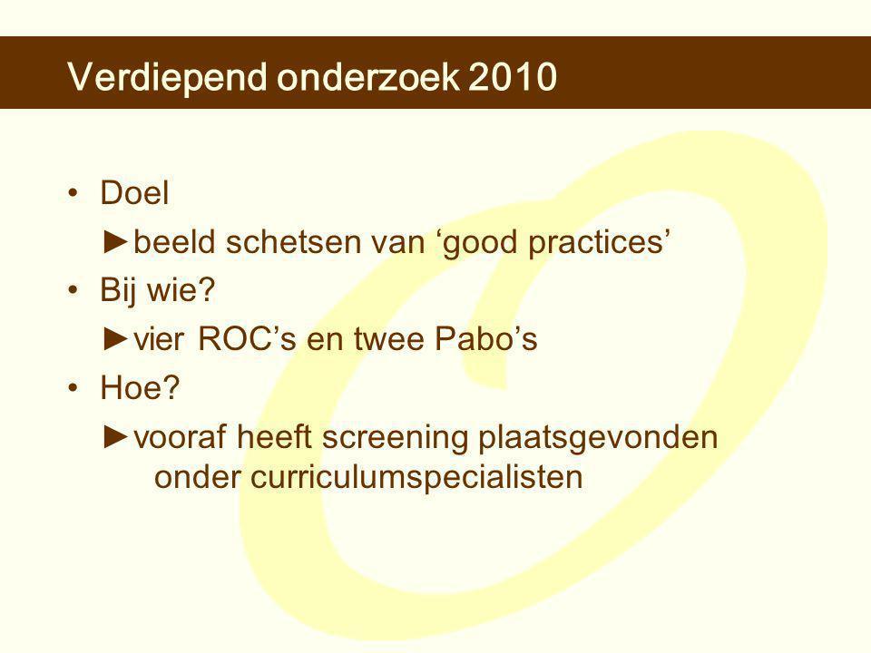 Verdiepend onderzoek 2010 •Doel ►b eeld schetsen van 'good practices' •Bij wie.
