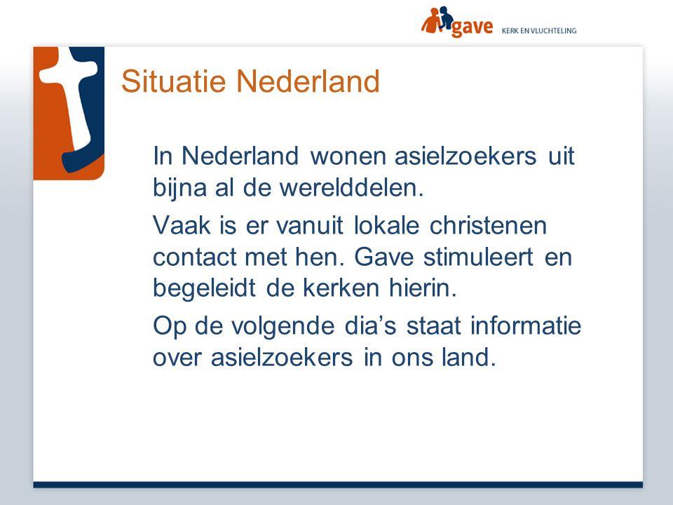 Situatie Nederland In Nederland wonen asielzoekers uit bijna al de werelddelen. Vaak is er vanuit lokale christenen contact met hen. Gave stimuleert e
