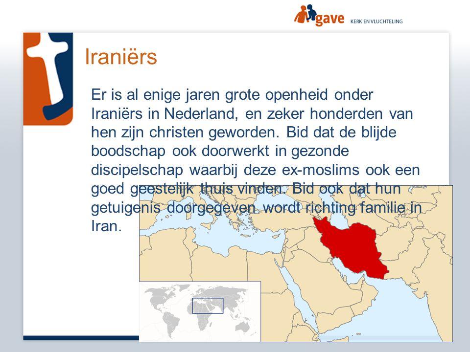 Iraniërs Er is al enige jaren grote openheid onder Iraniërs in Nederland, en zeker honderden van hen zijn christen geworden. Bid dat de blijde boodsch