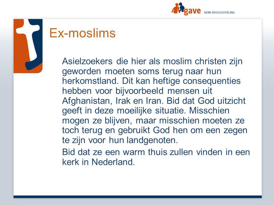 Ex-moslims Asielzoekers die hier als moslim christen zijn geworden moeten soms terug naar hun herkomstland. Dit kan heftige consequenties hebben voor