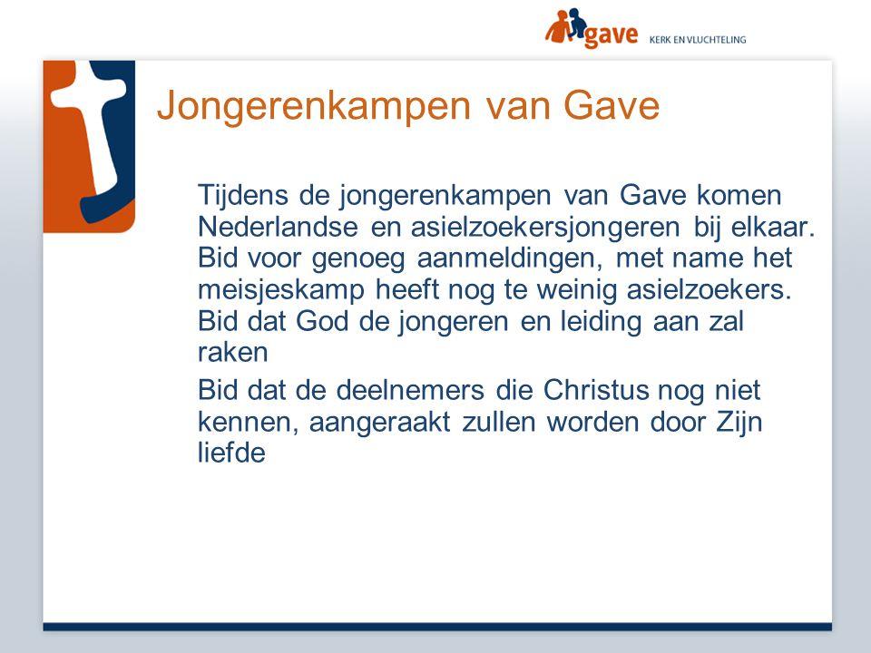 Jongerenkampen van Gave Tijdens de jongerenkampen van Gave komen Nederlandse en asielzoekersjongeren bij elkaar. Bid voor genoeg aanmeldingen, met nam