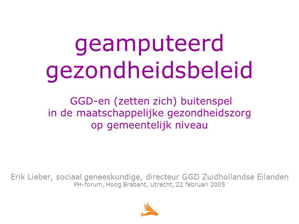 Evaluatie Gemeentelijk Gezondheidsbeleid project SGGB 1998-2001 en traject RGGB 2002-2005 doel: > (proces en) notie belangrijker dan nota opzet: > (samenwerkende) gemeenten eindverantwoordelijk, GGD (krachtig!) ondersteunend > zeer intensieve bestuurlijke terugkoppeling met gemeenten > transparante projectopzet, strakke regie > territoriale differentiatie: lokale, subregionale en regionale modules > input gegevens gefaseerd en op maat > interactieve planvorming (of vergelijkbaar) > intensief flankerend communicatiebeleid nota > inclusief politieke legitimatie > inclusief implementatieplan en voortgangsbewaking