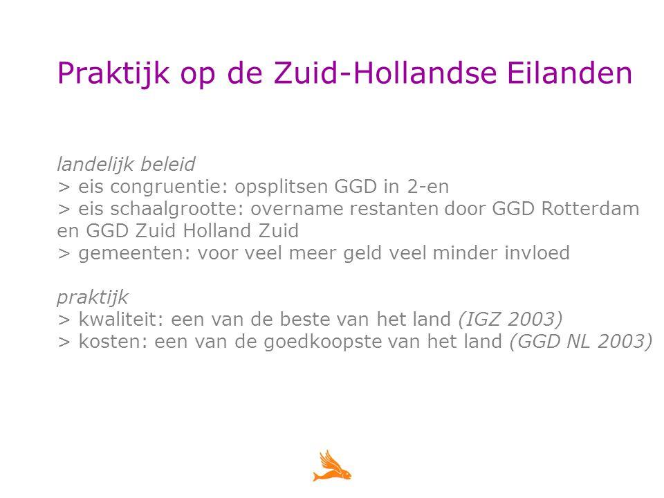 Praktijk op de Zuid-Hollandse Eilanden landelijk beleid > eis congruentie: opsplitsen GGD in 2-en > eis schaalgrootte: overname restanten door GGD Rotterdam en GGD Zuid Holland Zuid > gemeenten: voor veel meer geld veel minder invloed praktijk > kwaliteit: een van de beste van het land (IGZ 2003) > kosten: een van de goedkoopste van het land (GGD NL 2003)