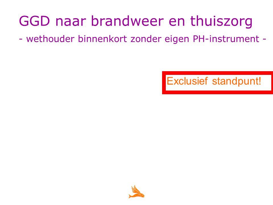 GGD naar brandweer en thuiszorg - wethouder binnenkort zonder eigen PH-instrument - Exclusief standpunt!