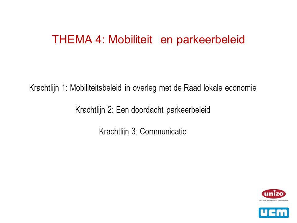 THEMA 4: Mobiliteit en parkeerbeleid Krachtlijn 1: Mobiliteitsbeleid in overleg met de Raad lokale economie Krachtlijn 2: Een doordacht parkeerbeleid Krachtlijn 3: Communicatie