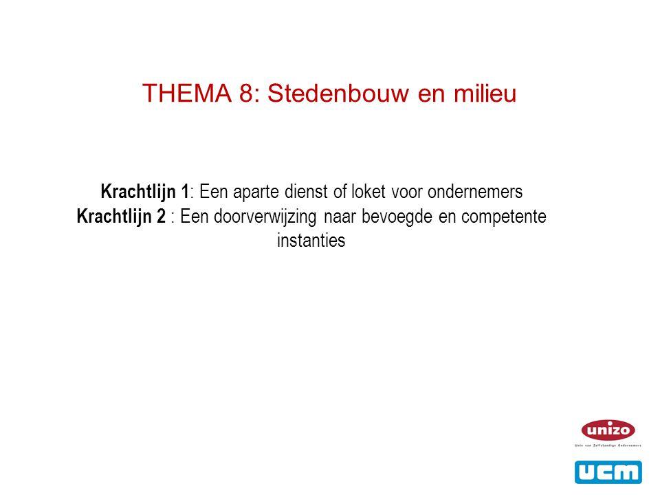 THEMA 8: Stedenbouw en milieu Krachtlijn 1 : Een aparte dienst of loket voor ondernemers Krachtlijn 2 : Een doorverwijzing naar bevoegde en competente instanties