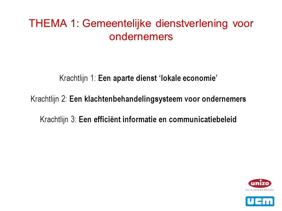 THEMA 1: Gemeentelijke dienstverlening voor ondernemers Krachtlijn 1: Een aparte dienst 'lokale economie' Krachtlijn 2: Een klachtenbehandelingsysteem voor ondernemers Krachtlijn 3: Een efficiënt informatie en communicatiebeleid