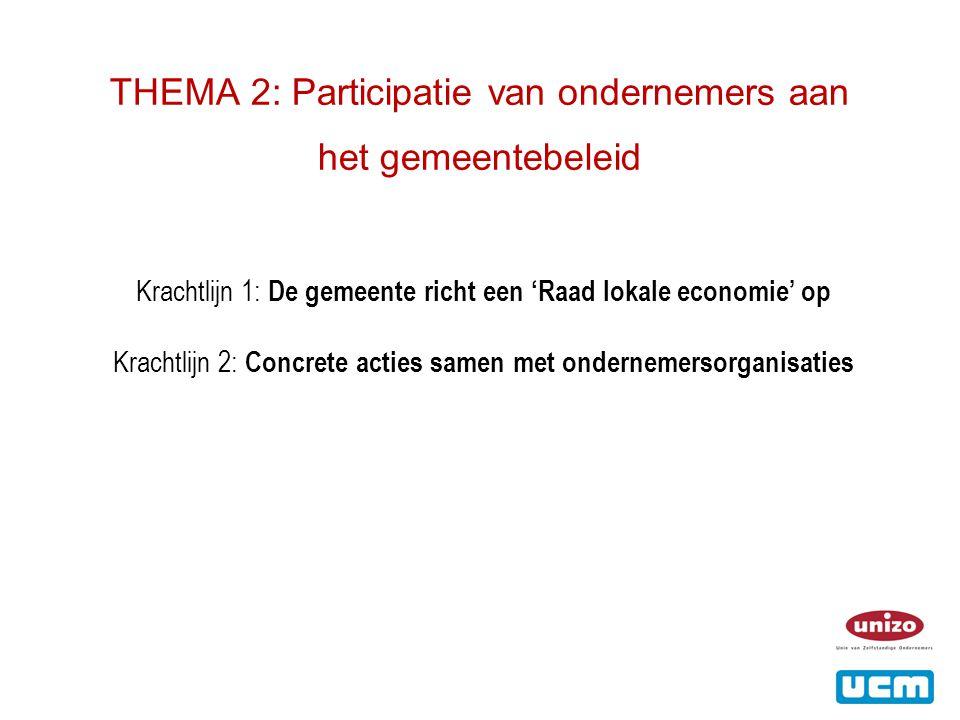 THEMA 2: Participatie van ondernemers aan het gemeentebeleid Krachtlijn 1: De gemeente richt een 'Raad lokale economie' op Krachtlijn 2: Concrete acties samen met ondernemersorganisaties