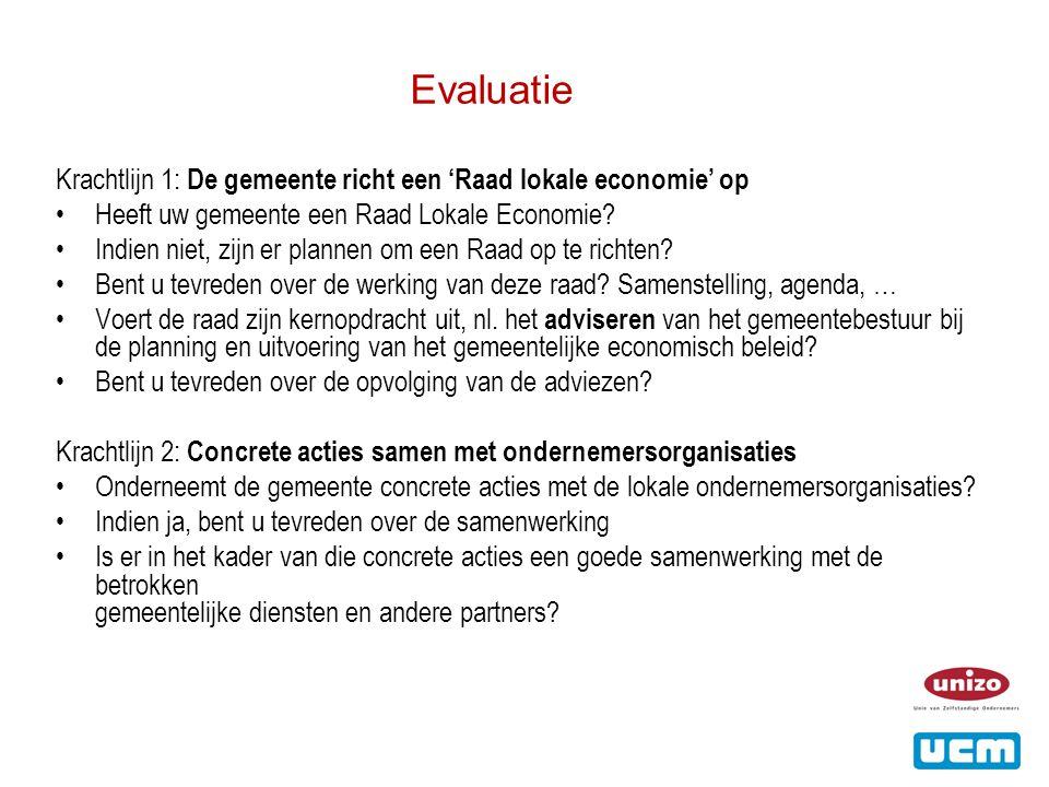 Evaluatie Krachtlijn 1: De gemeente richt een 'Raad lokale economie' op •Heeft uw gemeente een Raad Lokale Economie.