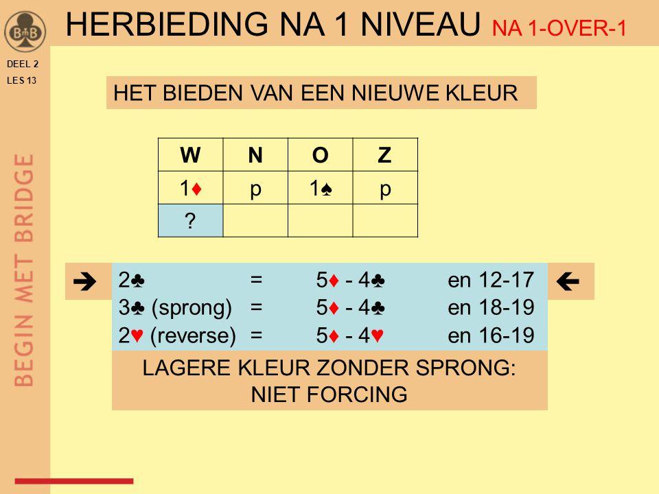 DEEL 2 LES 13 WNOZ 1♦1♦p1♠1♠p ? LAGERE KLEUR ZONDER SPRONG: NIET FORCING HET BIEDEN VAN EEN NIEUWE KLEUR 2♣ = 5♦ - 4♣ en 12-17 3♣ (sprong)= 5♦ - 4♣ en