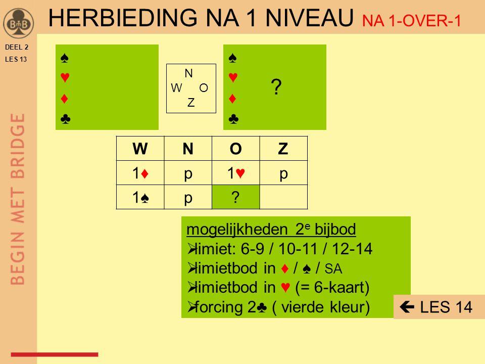 DEEL 2 LES 13 N W O Z WNOZ 1♣p1♥1♥p 1 SA p2♠p 3♥3♥ p4♥4♥ ♠ 5 ♥ ♦ ♣ punten = 13 samen = 25-27 ♥-fit = J  4♥ ♠ A 9 6 2 ♥ H V B 5 3 ♦ 8 5 ♣ V B range = 12-14 ♠-steun = N ♥-steun = J OEFENING 3A OPENAAR 1 SA NA 1-OVER-1