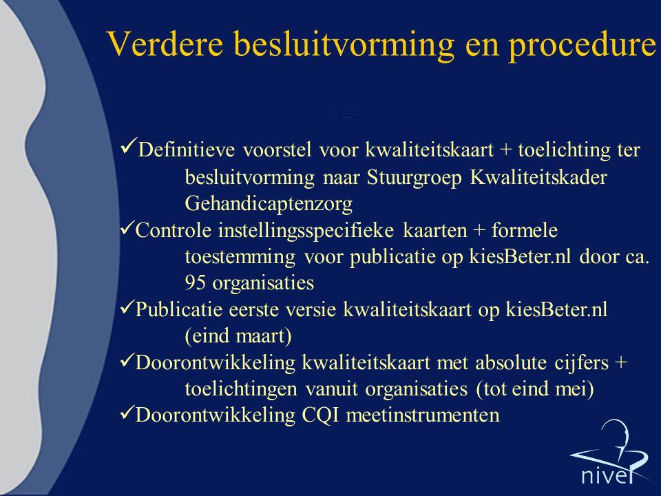 Verdere besluitvorming en procedure  Definitieve voorstel voor kwaliteitskaart + toelichting ter besluitvorming naar Stuurgroep Kwaliteitskader Gehandicaptenzorg  Controle instellingsspecifieke kaarten + formele toestemming voor publicatie op kiesBeter.nl door ca.