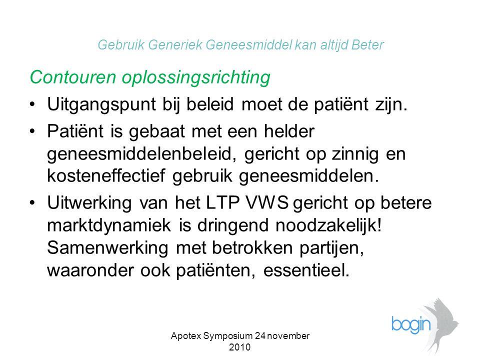 Apotex Symposium 24 november 2010 Gebruik Generiek Geneesmiddel kan altijd Beter Contouren oplossingsrichting •Uitgangspunt bij beleid moet de patiënt zijn.