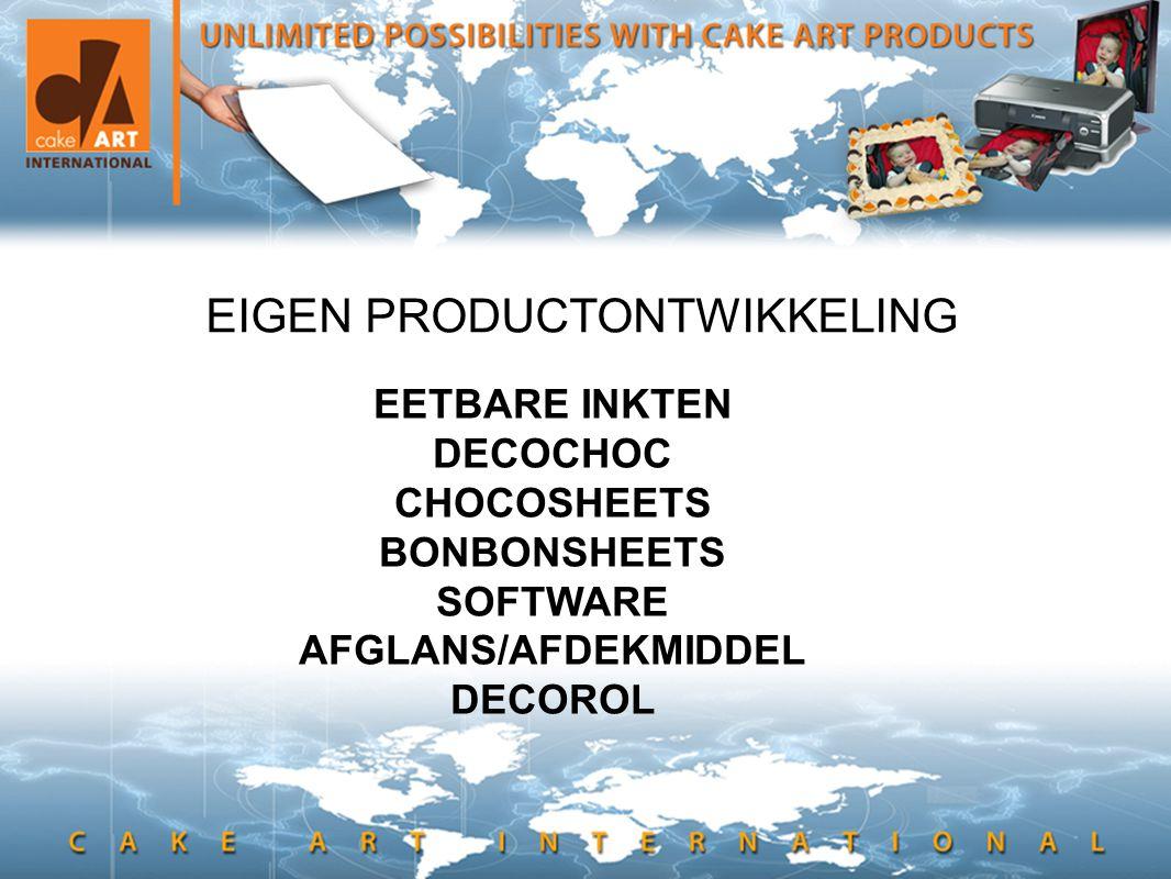 • en hier kan ook tekst EIGEN PRODUCTONTWIKKELING EETBARE INKTEN DECOCHOC CHOCOSHEETS BONBONSHEETS SOFTWARE AFGLANS/AFDEKMIDDEL DECOROL