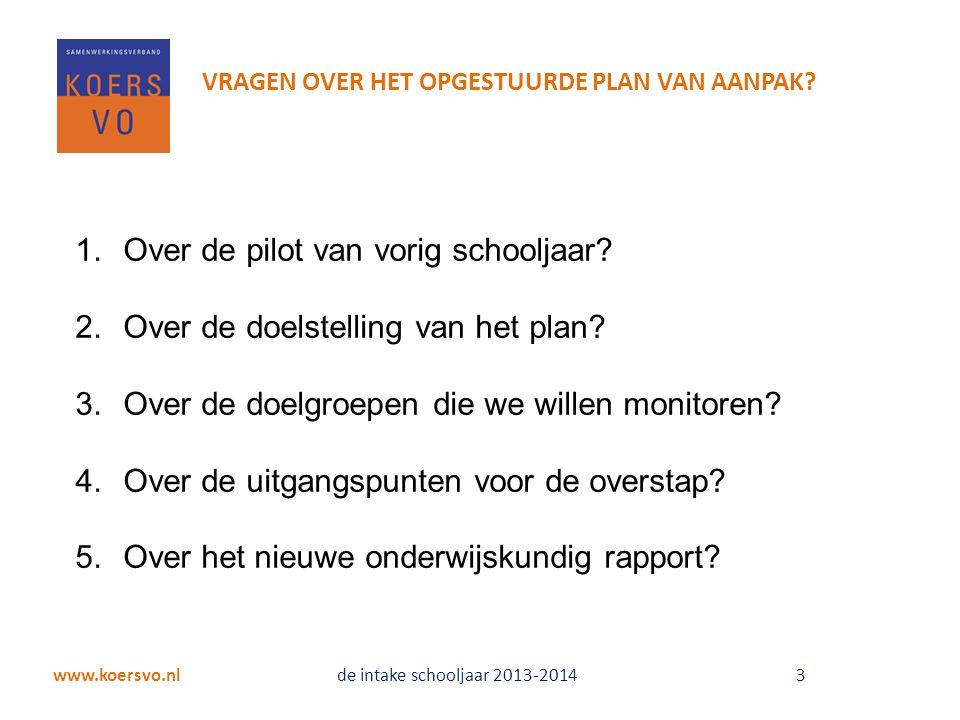 1.Over de pilot van vorig schooljaar.2.Over de doelstelling van het plan.