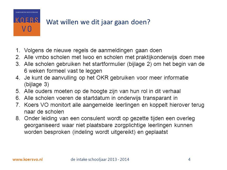 www.koersvo.nl de intake schooljaar 2013 - 2014 4 Wat willen we dit jaar gaan doen.