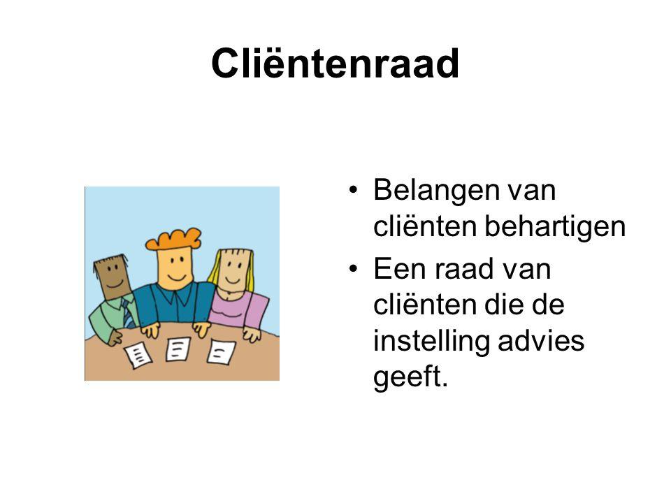 Cliëntenraad •Belangen van cliënten behartigen •Een raad van cliënten die de instelling advies geeft.