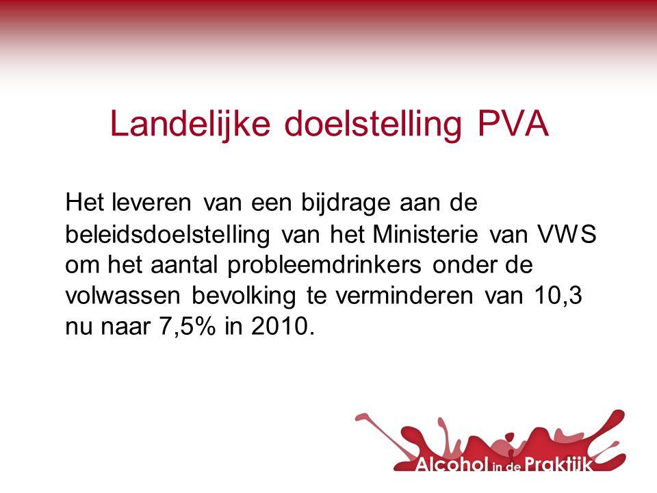 Landelijke doelstelling PVA Het leveren van een bijdrage aan de beleidsdoelstelling van het Ministerie van VWS om het aantal probleemdrinkers onder de