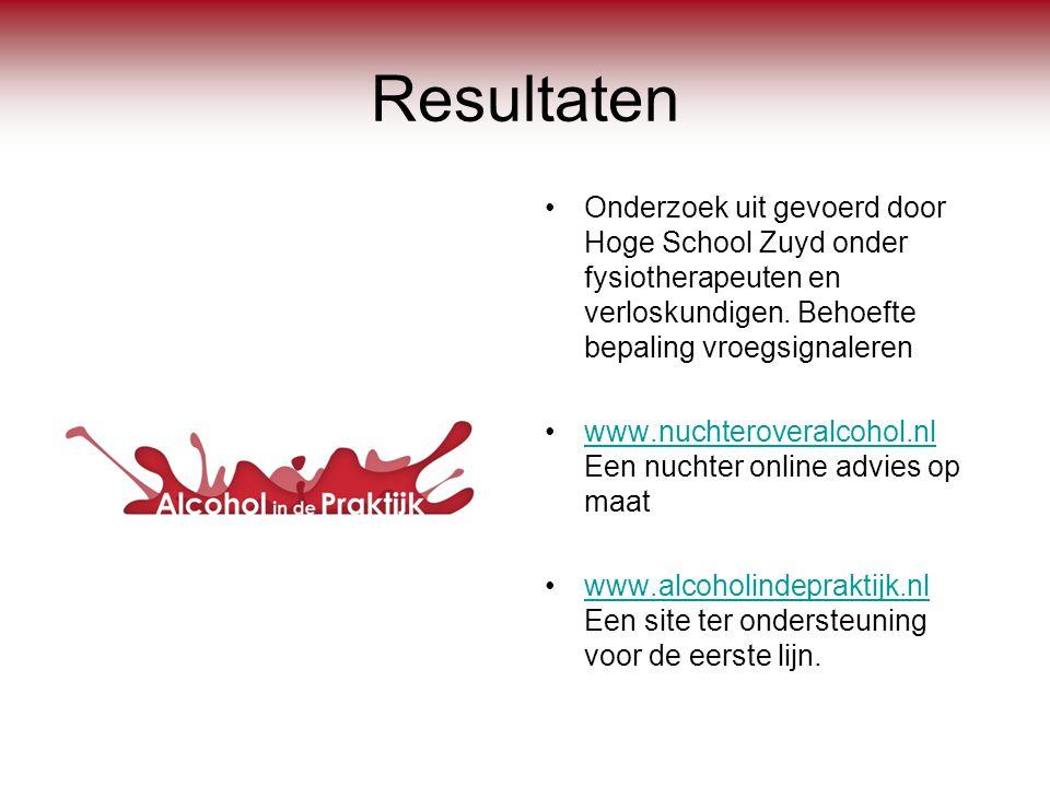 Resultaten •Onderzoek uit gevoerd door Hoge School Zuyd onder fysiotherapeuten en verloskundigen. Behoefte bepaling vroegsignaleren •www.nuchteroveral
