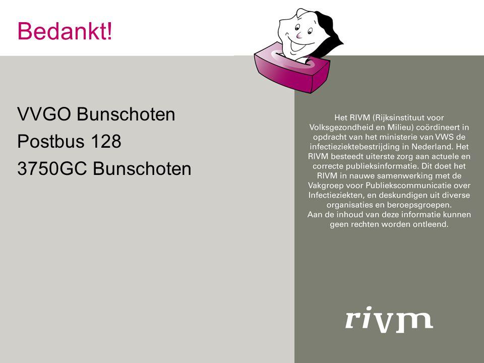 Bedankt! VVGO Bunschoten Postbus 128 3750GC Bunschoten