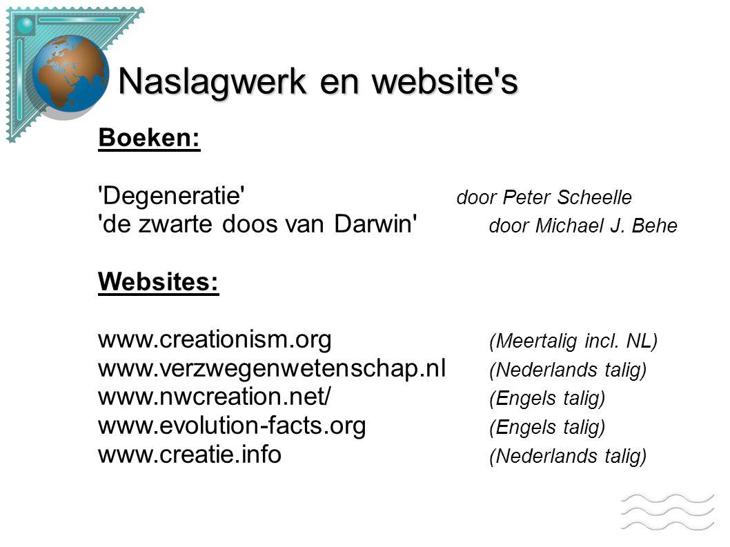 Naslagwerk en website's Boeken: 'Degeneratie' door Peter Scheelle 'de zwarte doos van Darwin' door Michael J. Behe Websites: www.creationism.org (Meer