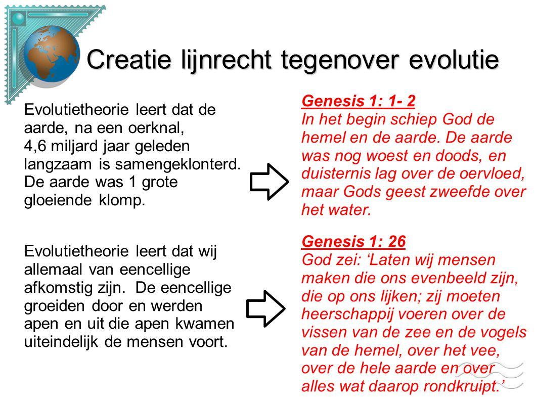 Creatie lijnrecht tegenover evolutie Evolutietheorie beweerd dat de dieren geleidelijk zijn ontstaan.