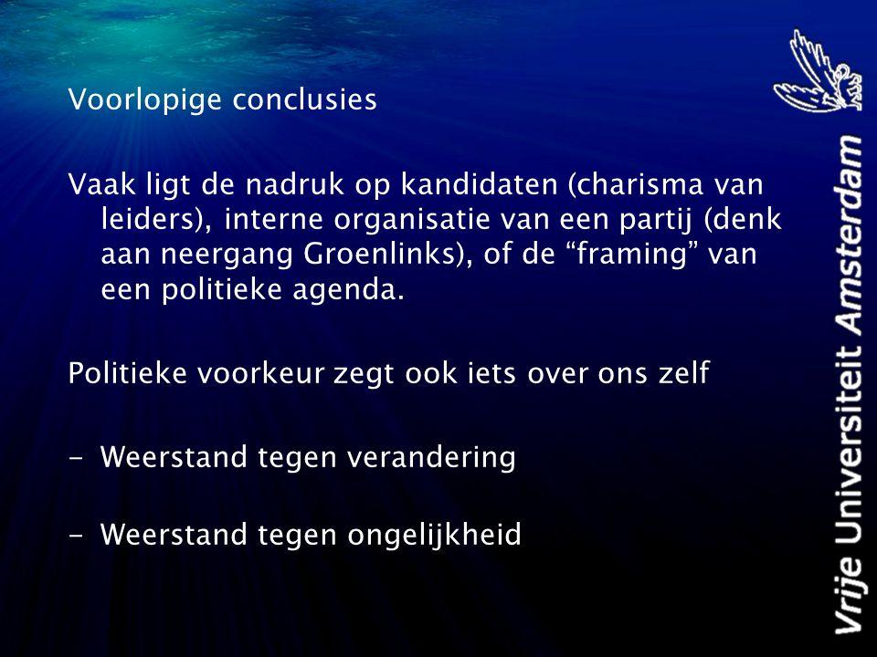 Voorlopige conclusies Vaak ligt de nadruk op kandidaten (charisma van leiders), interne organisatie van een partij (denk aan neergang Groenlinks), of de framing van een politieke agenda.
