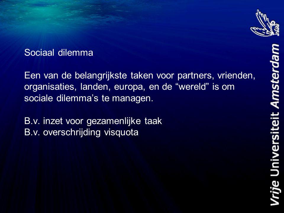 Twee uitdagingen 1.Sociaal dilemma: Conflict tussen eigenbelang en gezamenlijk belang 2.