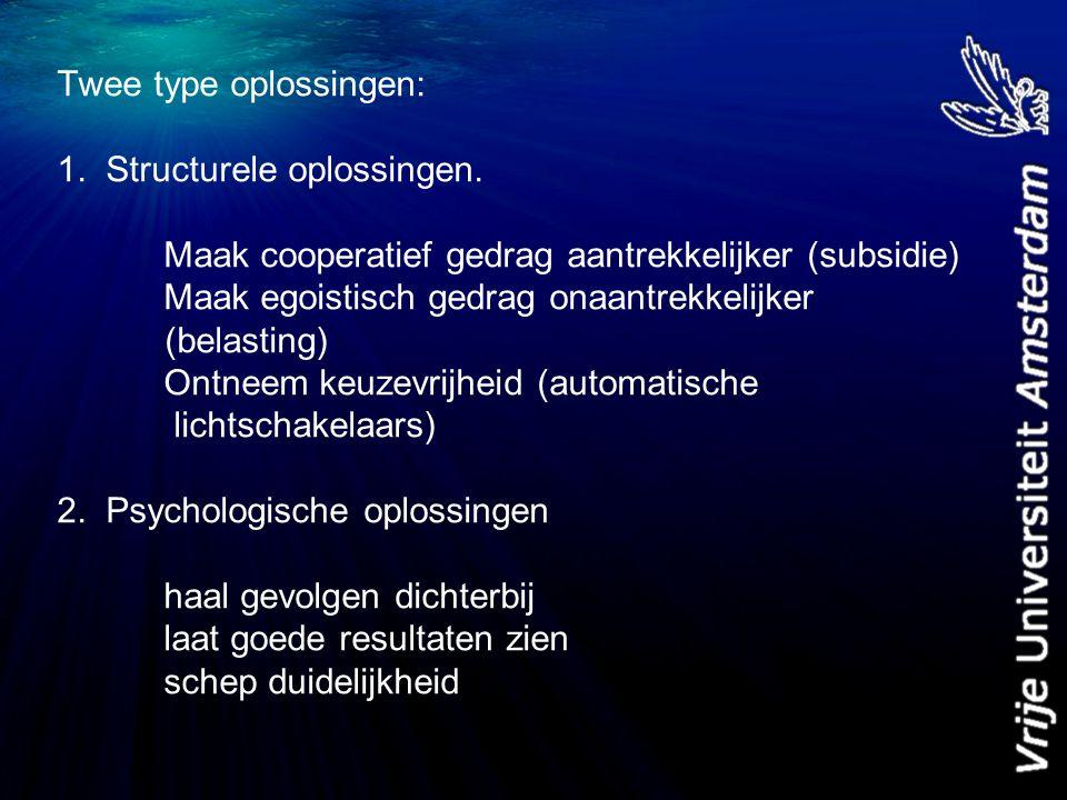 Twee type oplossingen: 1. Structurele oplossingen.