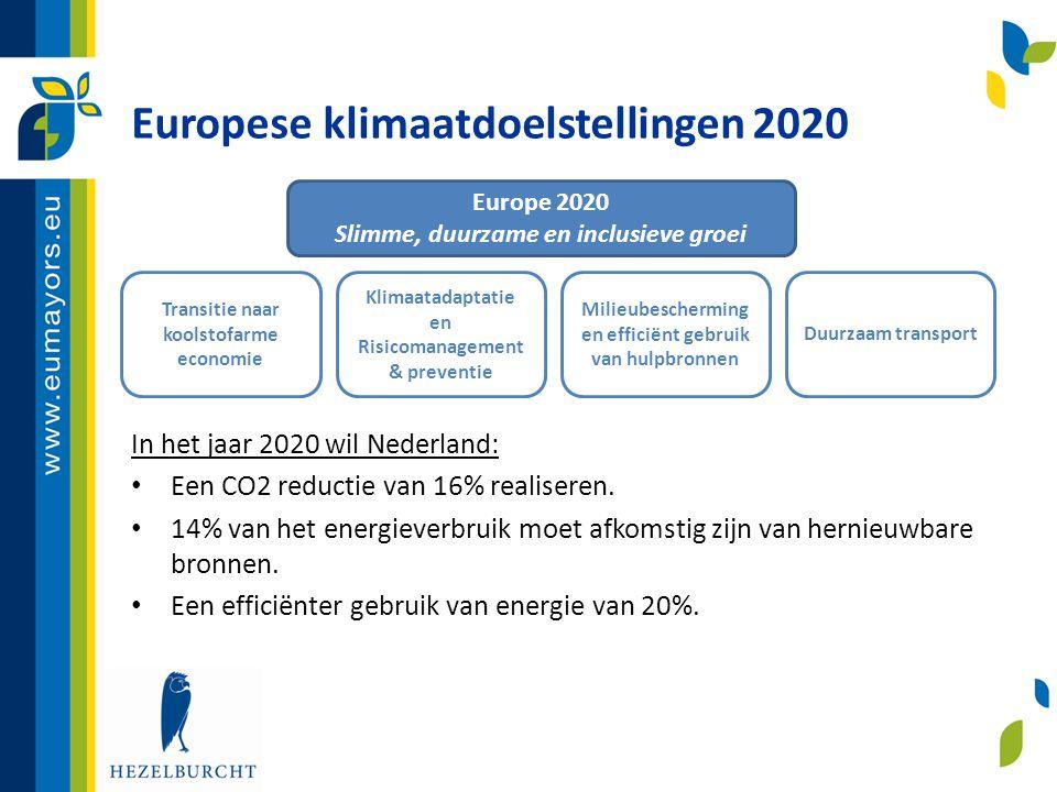 Europese klimaatdoelstellingen 2020 In het jaar 2020 wil Nederland: • Een CO2 reductie van 16% realiseren. • 14% van het energieverbruik moet afkomsti