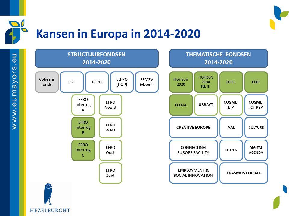 Kansen in Europa in 2014-2020 STRUCTUURFONDSEN 2014-2020 THEMATISCHE FONDSEN 2014-2020 Cohesie fonds ESFEFRO ELFPO (POP) EFMZV (visserij) EFRO Interre
