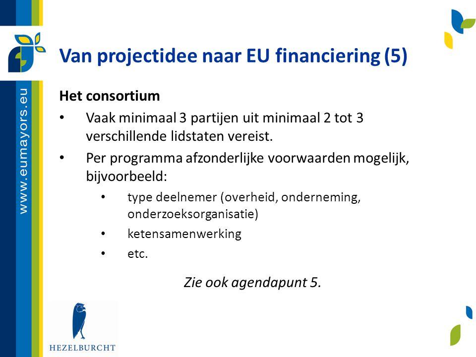 Van projectidee naar EU financiering (5) Het consortium • Vaak minimaal 3 partijen uit minimaal 2 tot 3 verschillende lidstaten vereist. • Per program