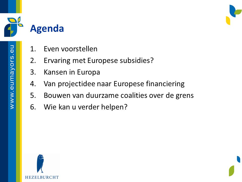 Agenda 1.Even voorstellen… 2.Ervaring met Europese subsidies.