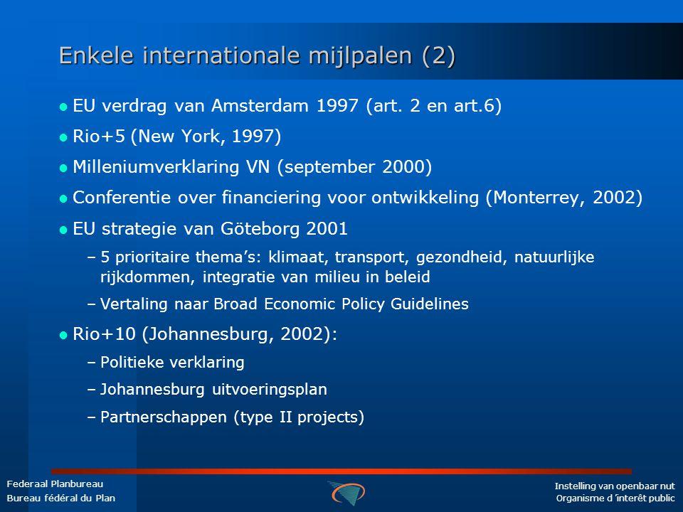 Instelling van openbaar nut Organisme d 'interêt public Federaal Planbureau Bureau fédéral du Plan Enkele internationale mijlpalen (2)  EU verdrag van Amsterdam 1997 (art.