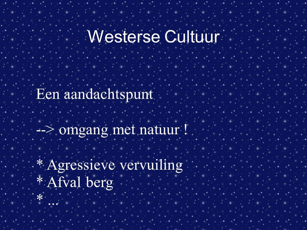Westerse Cultuur Een aandachtspunt --> omgang met natuur ! * Agressieve vervuiling * Afval berg *...