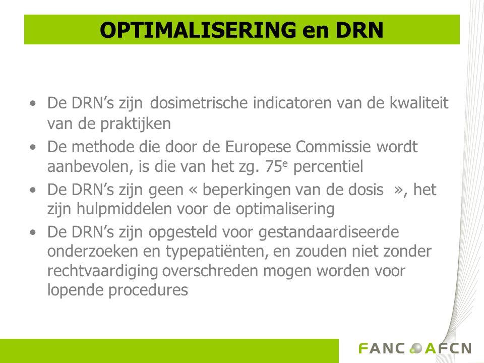 OPTIMALISERING en DRN •De DRN's zijn dosimetrische indicatoren van de kwaliteit van de praktijken •De methode die door de Europese Commissie wordt aanbevolen, is die van het zg.