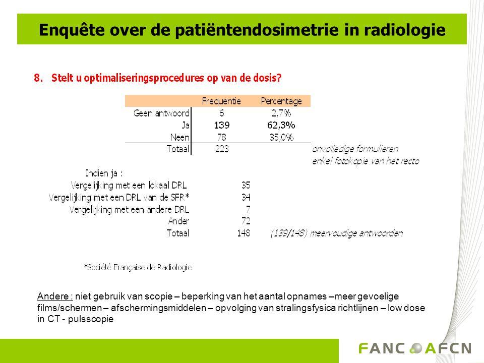 Andere : niet gebruik van scopie – beperking van het aantal opnames –meer gevoelige films/schermen – afschermingsmiddelen – opvolging van stralingsfysica richtlijnen – low dose in CT - pulsscopie