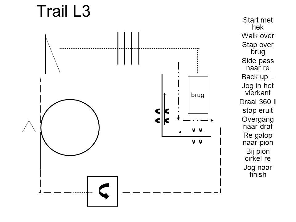 Trail L3 Start met hek Walk over Stap over brug Side pass naar re Back up L Jog in het vierkant Draai 360 li stap eruit Overgang naar draf Re galop na