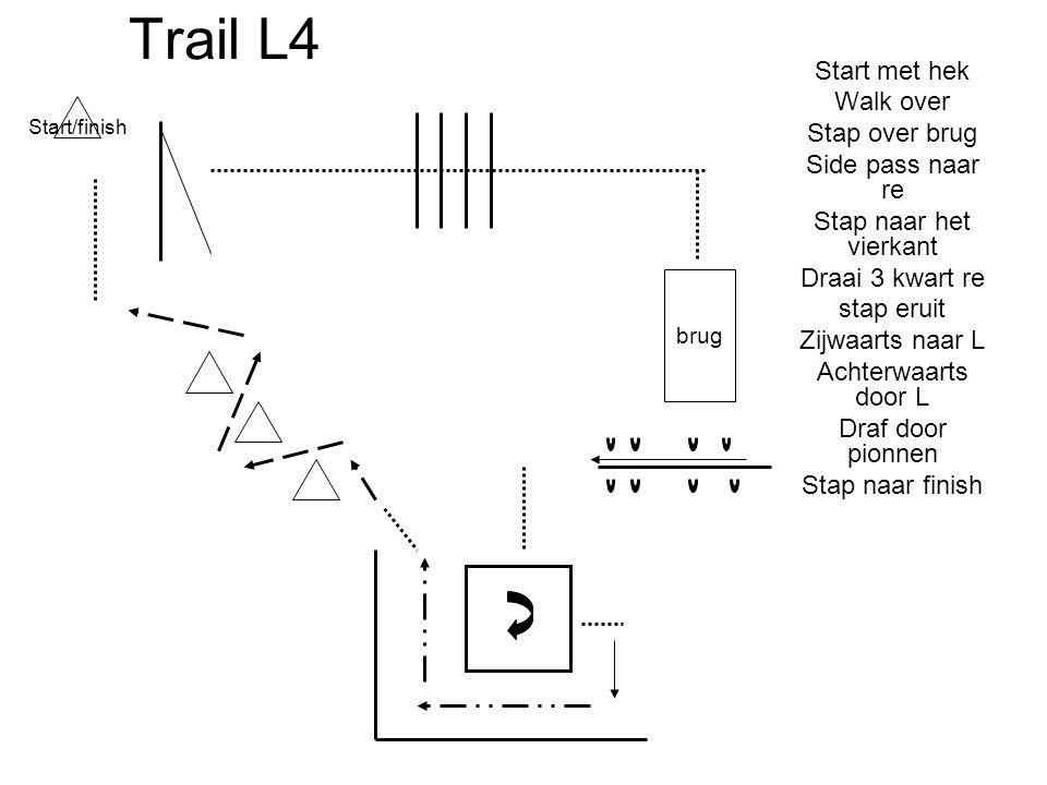 Trail L4 Start met hek Walk over Stap over brug Side pass naar re Stap naar het vierkant Draai 3 kwart re stap eruit Zijwaarts naar L Achterwaarts doo