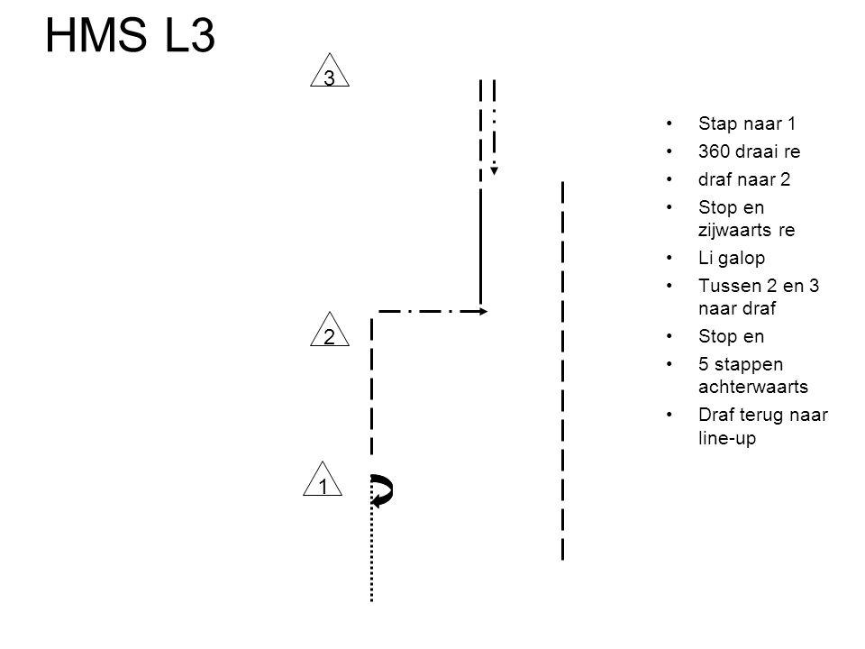 HMS L3 •Stap naar 1 •360 draai re •draf naar 2 •Stop en zijwaarts re •Li galop •Tussen 2 en 3 naar draf •Stop en •5 stappen achterwaarts •Draf terug n