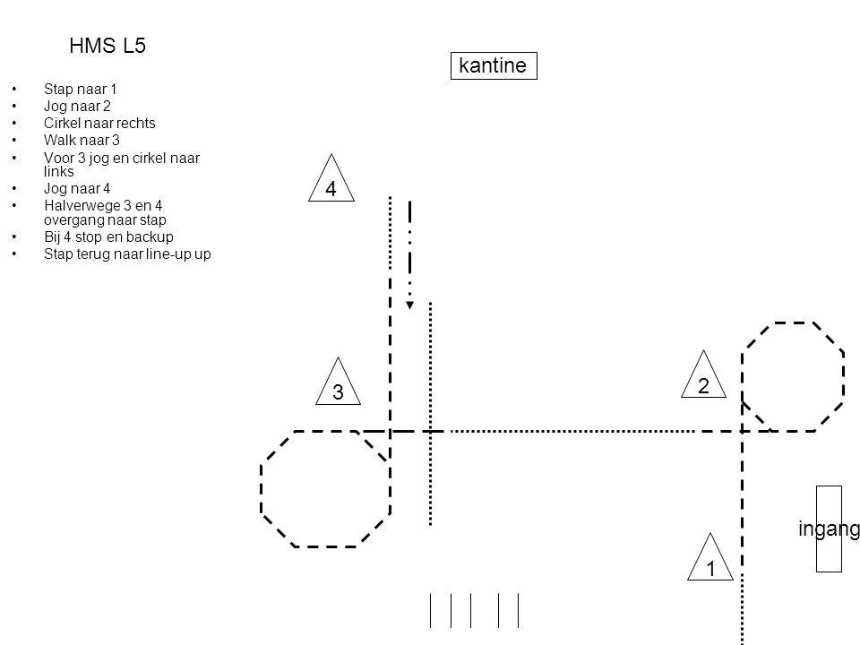 HMS L5 •Stap naar 1 •Jog naar 2 •Cirkel naar rechts •Walk naar 3 •Voor 3 jog en cirkel naar links •Jog naar 4 •Halverwege 3 en 4 overgang naar stap •B