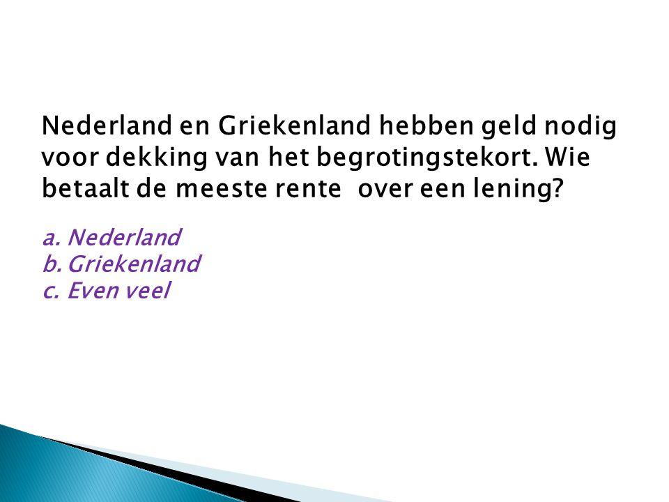 Nederland en Griekenland hebben geld nodig voor dekking van het begrotingstekort.