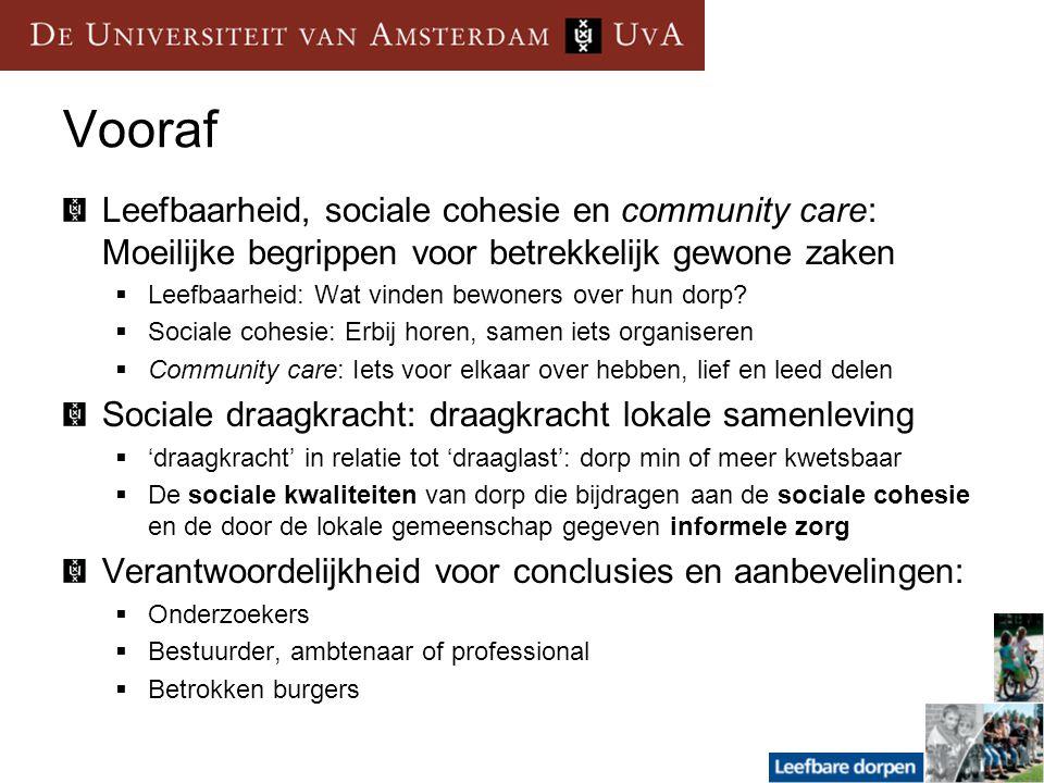 Vooraf Leefbaarheid, sociale cohesie en community care: Moeilijke begrippen voor betrekkelijk gewone zaken  Leefbaarheid: Wat vinden bewoners over hu