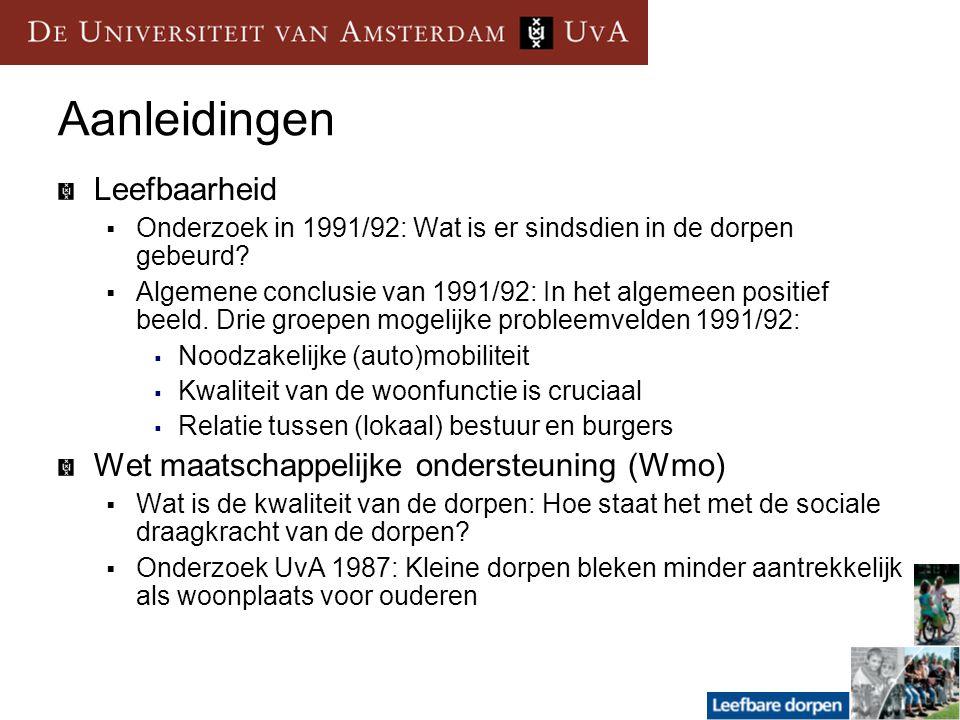 Aanleidingen Leefbaarheid  Onderzoek in 1991/92: Wat is er sindsdien in de dorpen gebeurd?  Algemene conclusie van 1991/92: In het algemeen positief