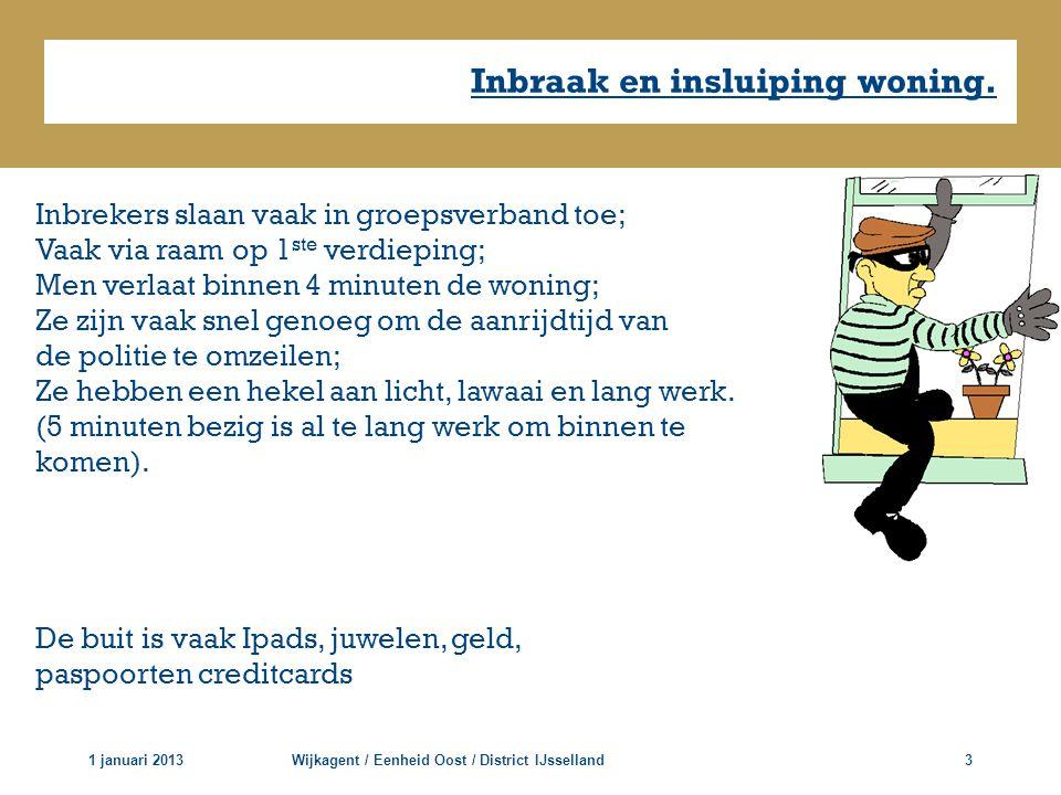 Inbraak en insluiping woning. 1 januari 2013Wijkagent / Eenheid Oost / District IJsselland3 Inbrekers slaan vaak in groepsverband toe; Vaak via raam o
