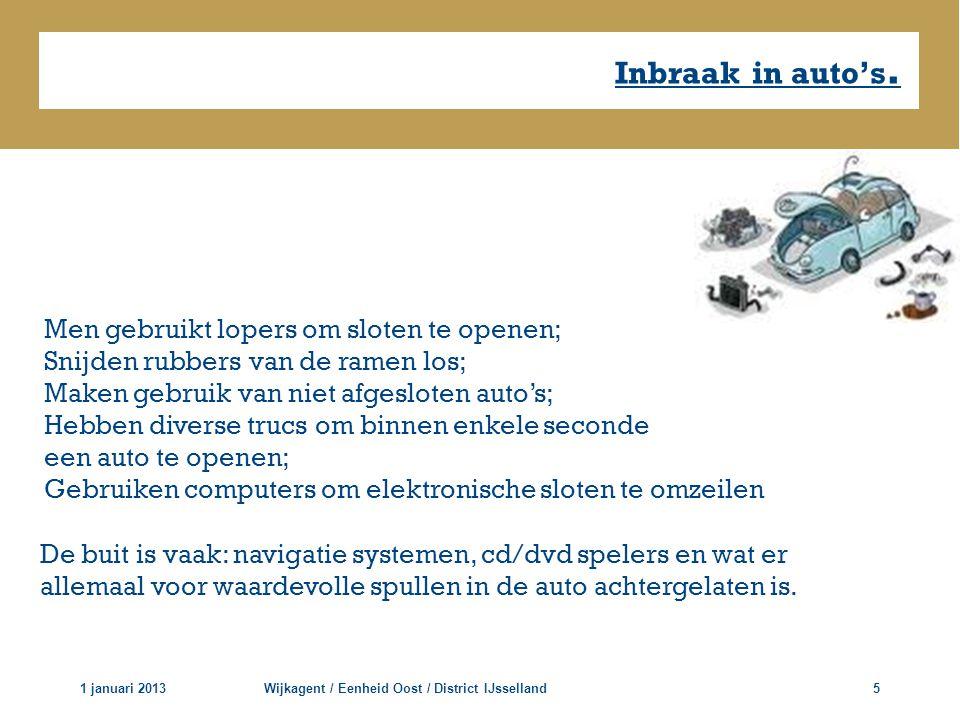 Inbraak in auto's. 1 januari 2013Wijkagent / Eenheid Oost / District IJsselland5 Men gebruikt lopers om sloten te openen; Snijden rubbers van de ramen