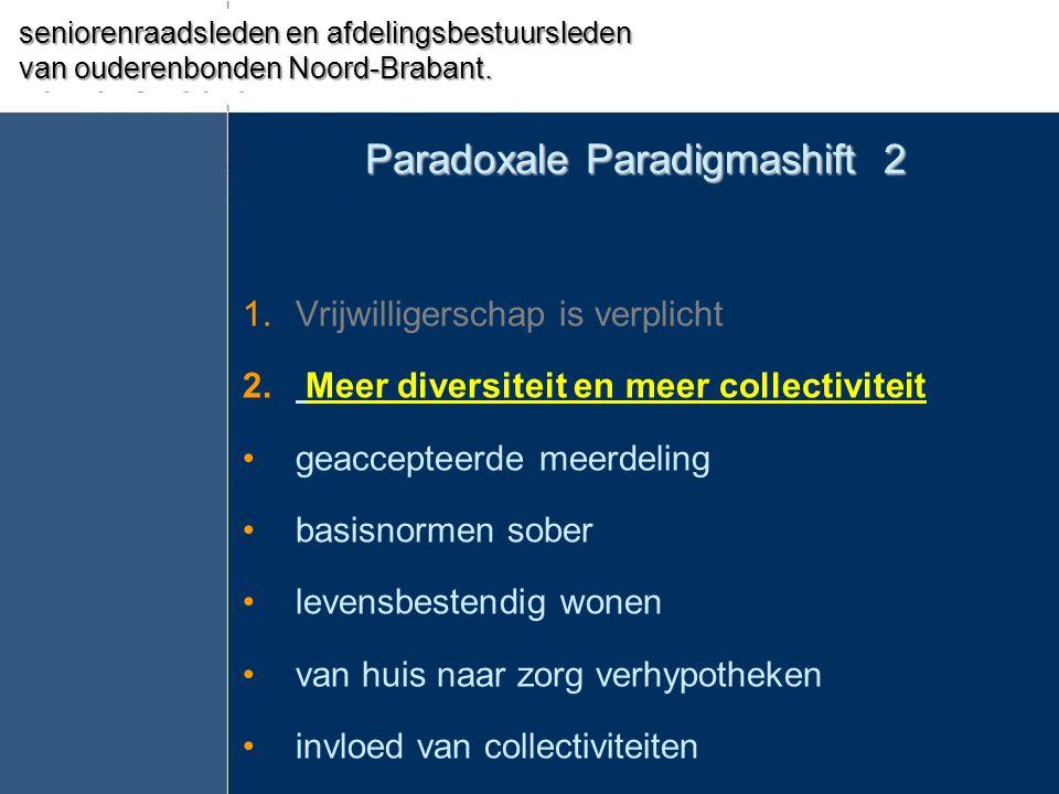 Paradoxale Paradigmashift 2 1.Vrijwilligerschap is verplicht 2. Meer diversiteit en meer collectiviteit •geaccepteerde meerdeling •basisnormen sober •