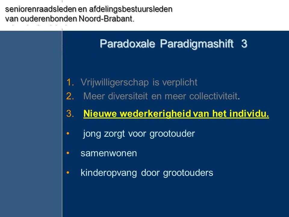 Paradoxale Paradigmashift 3 1.Vrijwilligerschap is verplicht 2. Meer diversiteit en meer collectiviteit. 3. Nieuwe wederkerigheid van het individu. •