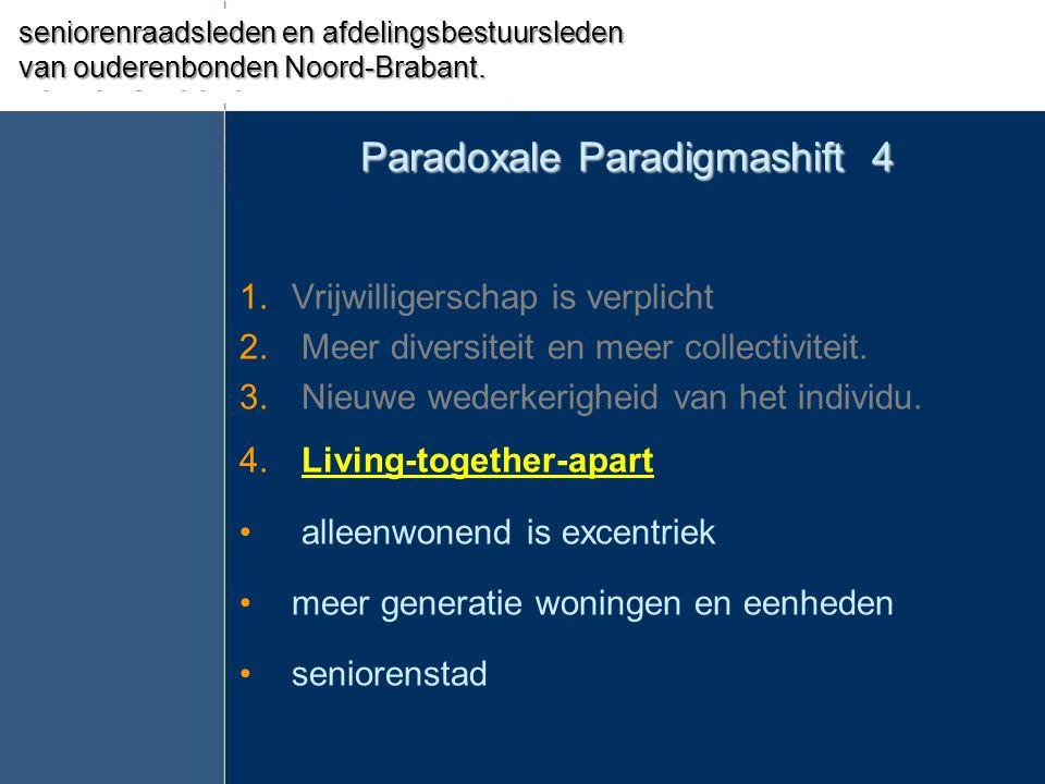 Paradoxale Paradigmashift 4 1.Vrijwilligerschap is verplicht 2. Meer diversiteit en meer collectiviteit. 3. Nieuwe wederkerigheid van het individu. 4.